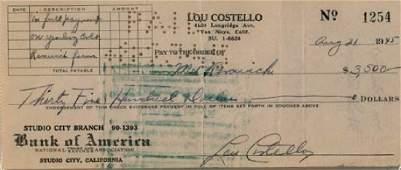 Abbott  Costello LOU COSTELLO  Check Signed