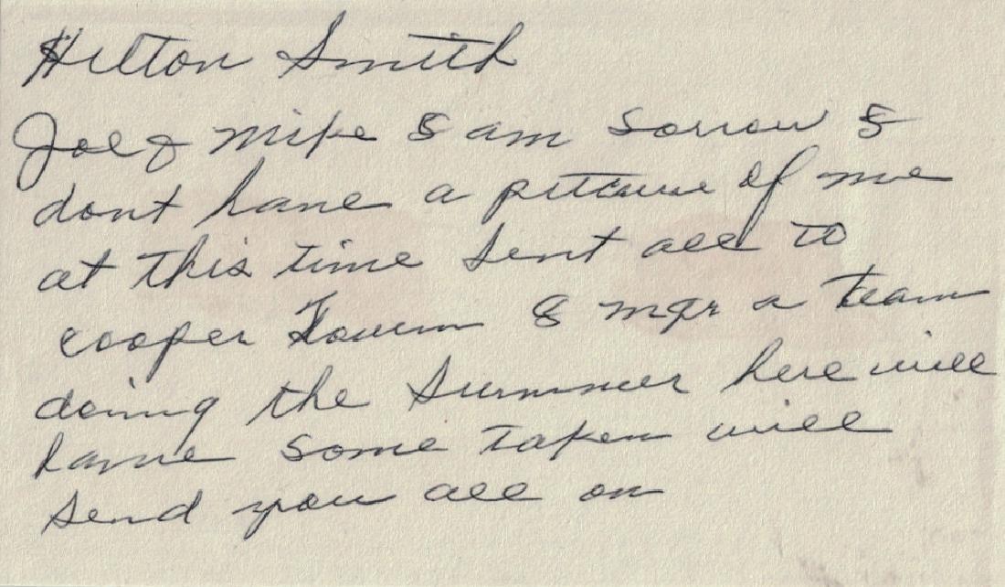 Negro Leagues HILTON SMITH - Autograph Note Signed