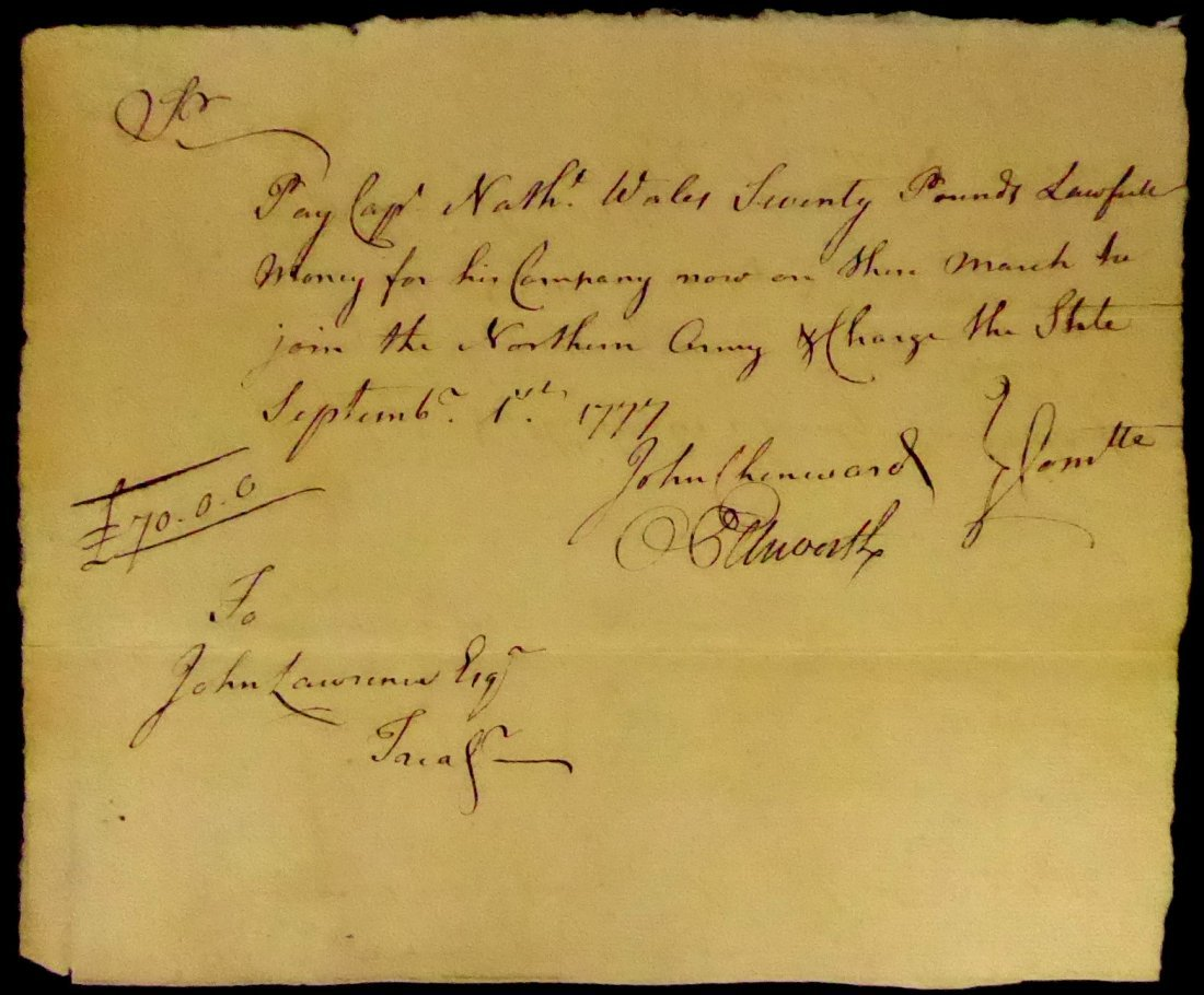 Founding Father OLIVER ELLSWORTH - 1777 Doc Signed