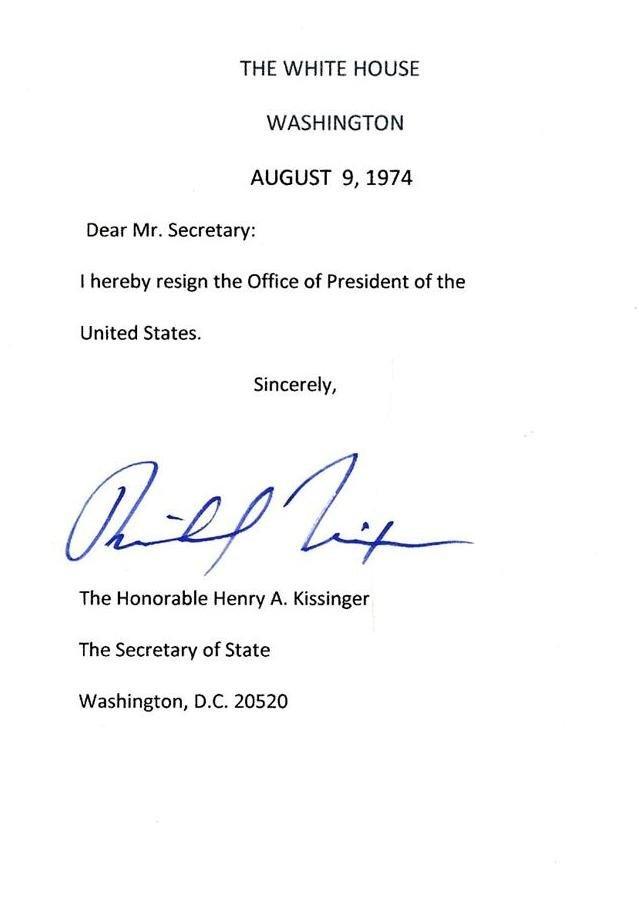 RICHARD M NIXON - Signed Resignatuin Letter