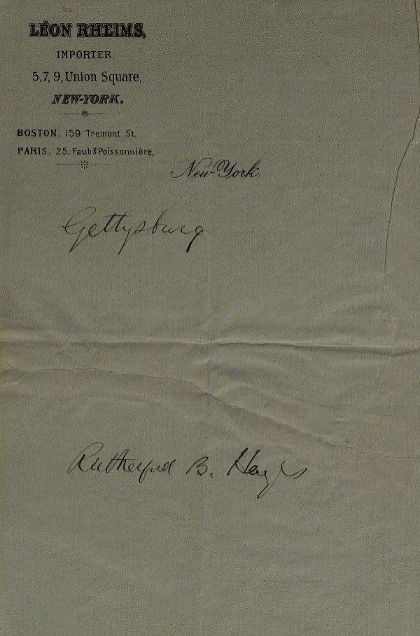 19: President RUTHERFORD B HAYES - Autograph