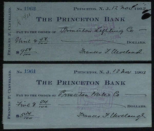 24: First Lady FRANCES CLEVELAND - 2 Checks Signed