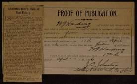 37: Pres WARREN G HARDING - Proof of Publ Signed