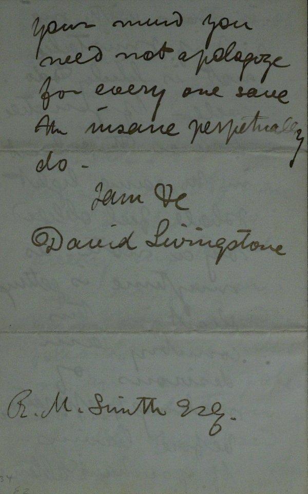 207: Explorer DAVID LIVINGSTONE - Autograph Ltr Signed