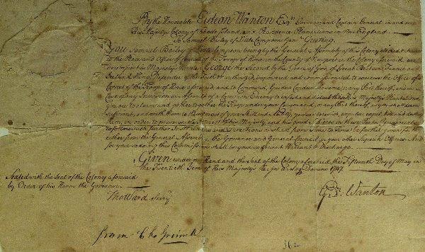 1: Colonial RI Governor GIDEON WANTON - Doc Signed