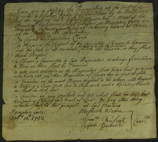 2: 1st NH Governor MESHECH WEARE - Doc Signed 1752