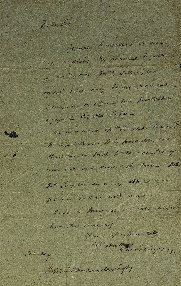8: Rev War Gen PHILLIP SCHUYLER - Autograph Ltr Signed