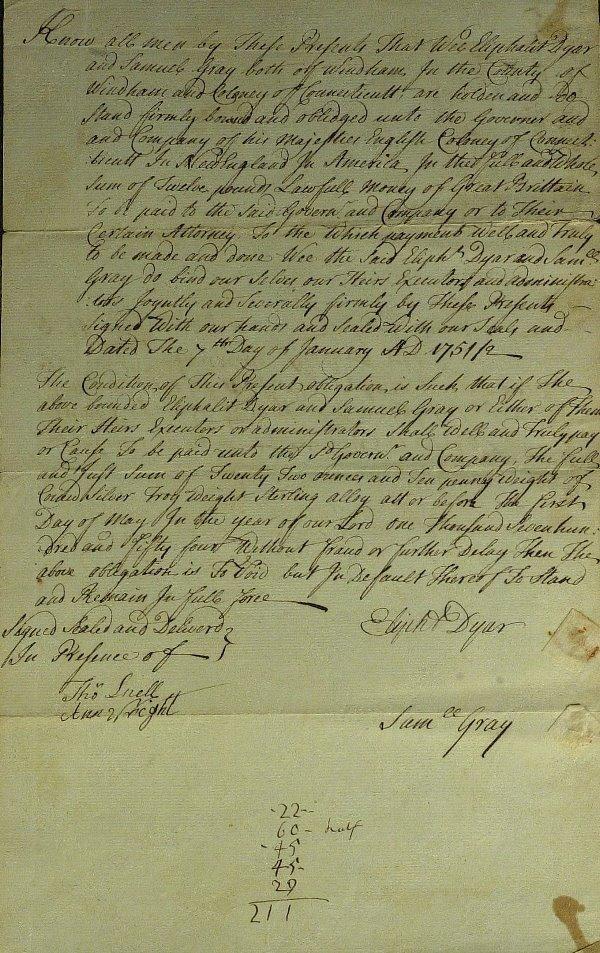 11: Connecticut Jurist ELIPHALET DYER - Document Signed