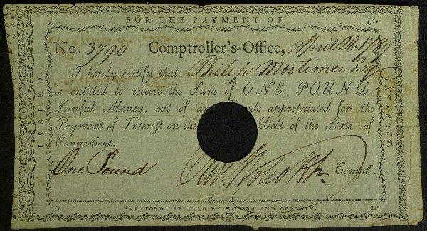 14: CT Signer OLIVER WOLCOTT - Payorder Signed 1784