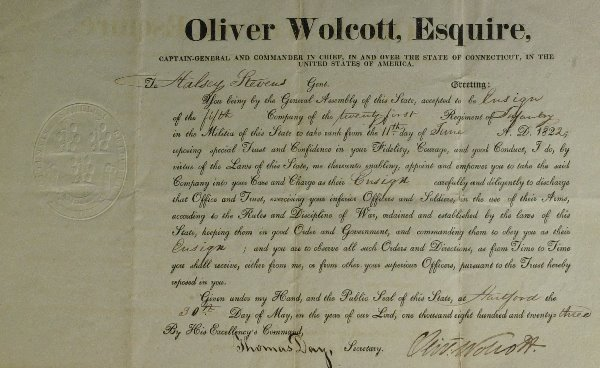 16: CT OLIVER WOLCOTT JR - Military Appointment Signed
