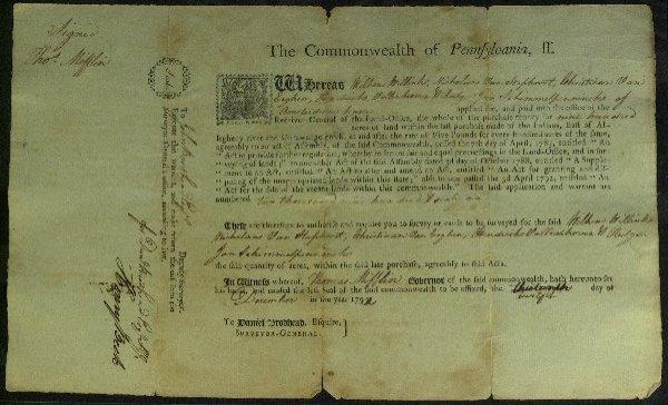 18: General, Governor THOMAS MIFFLIN - Landgrant Signed