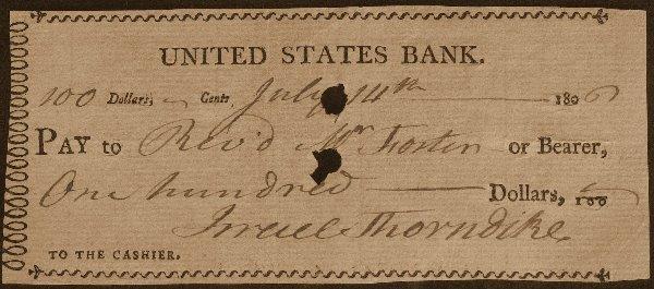 20: Merchant ISRAEL THORNDIKE - Check Written & Signed