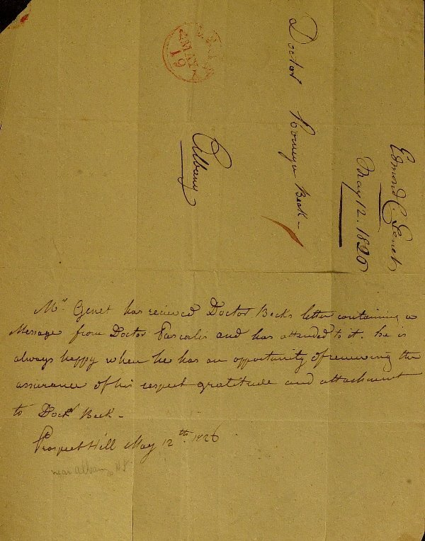 """23: French EDMUND """"CITIZEN"""" GENET- Autograph Ltr Signed"""
