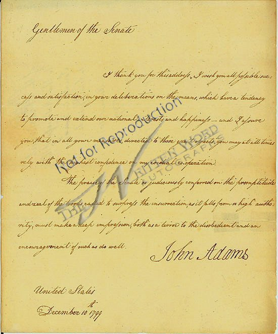 49: Pres JOHN ADAMS-Historic Ltr Signed as Pres to Cong