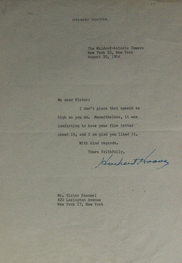 Pres HERBERT HOOVER - Typed Ltr Signed with Photo