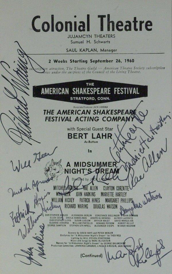 "573: ""Cowardly Lion"" Actor BERT LAHR - Program Signed"