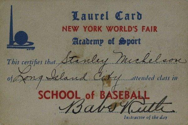 "647: ""Bambino"" BABE RUTH-School of Baseball Card Signed"