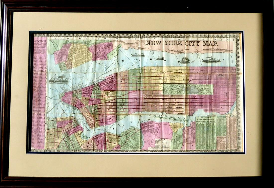 1860's New York City Map - Colored & Framed