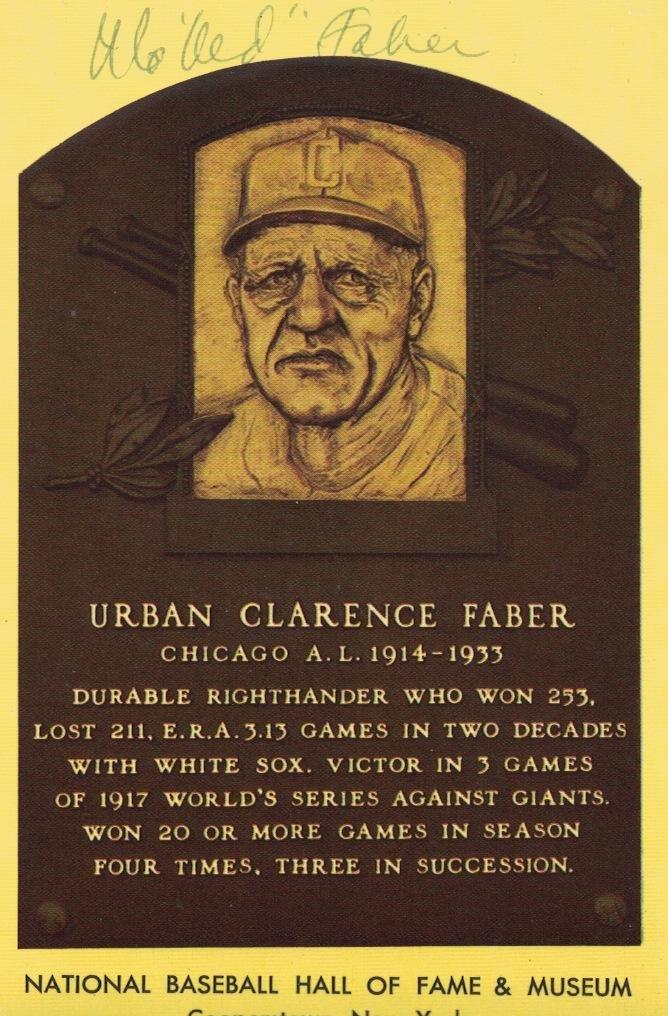 Pitcher RED FABER - Gold HOF Plaque Card Signed