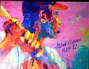 HOFer HANK AARON Signed Neiman Print
