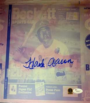 Baseball Great HANK AARON Signed Printing Plate