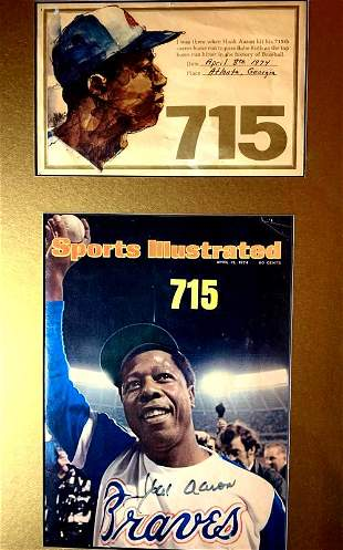 HANK AARON Framed Magazine and 714 HR Card