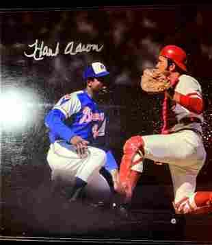 Baseball Great HANK AARON Signed Large Photo