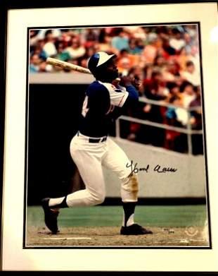 Baseball Star HANK AARON Signed and Framed Photo