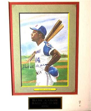 Braves Great HANK AARON Signed and Framed Card