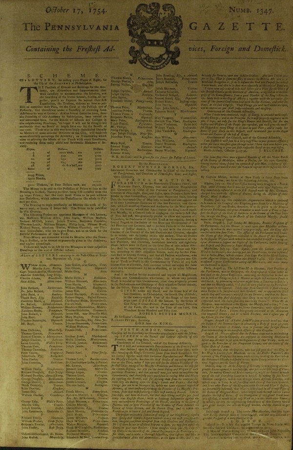 1: Colonial Newspaper Franklin's PENN GAZETTE- Oct 1754