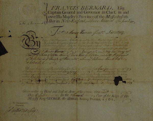 2: MA Colonial Gov FRANCIS BERNARD - 1762 Doc Signed