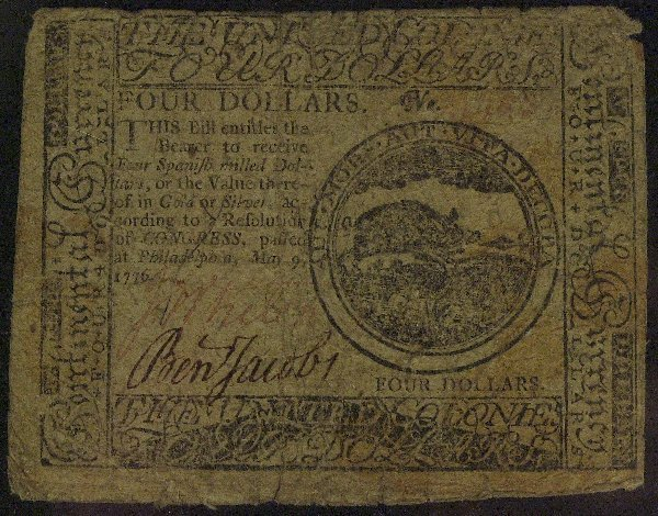 3: PA Patriot BENJAMIN JACOBS - 1776 Currency Signed