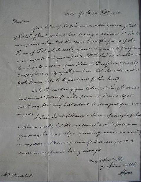 5: Vice Pres, Hamilton Duel AARON BURR - Letter Signed