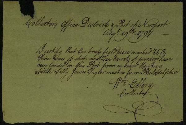 8: RI D of I Signer WILLIAM ELLERY - War Doc Signed
