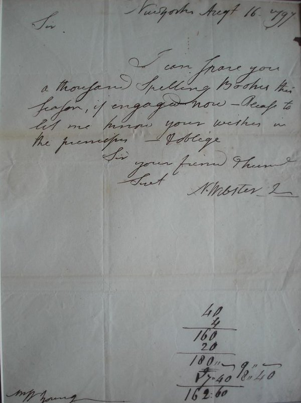 23: Lexicographer NOAH WEBSTER - Autograph Ltr Signed