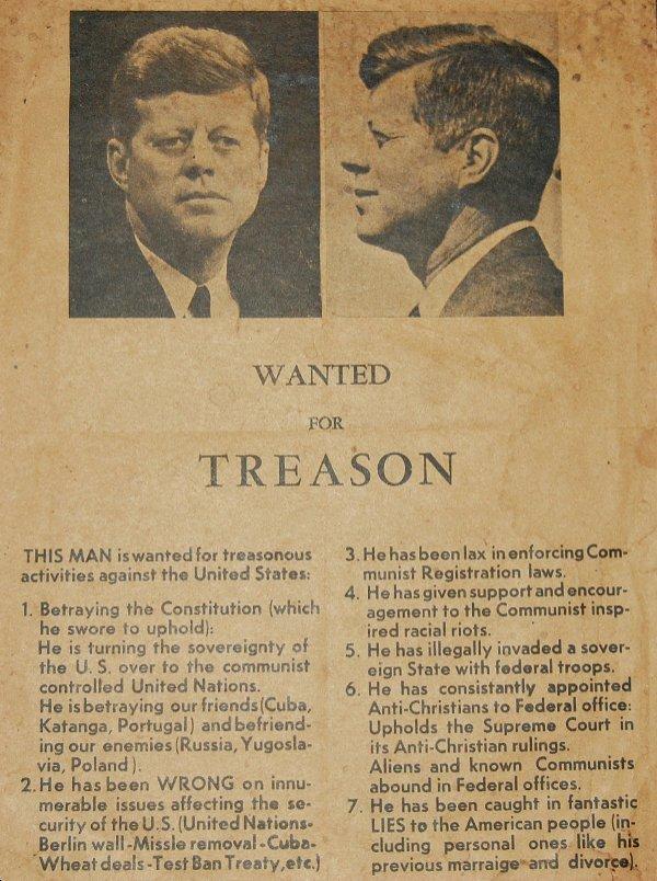 "83: JFK Orig ""Wanted for Treason"" Poster *VERY RARE*"