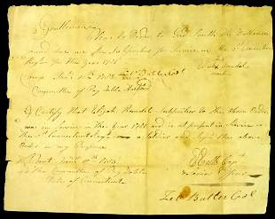 Soldier, Politiian ZEBULON BUTLER - 1783 Doc. Signed