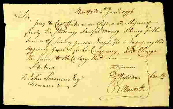 Founding Father OLIVER ELLSWORTH - 1776 Payorder for