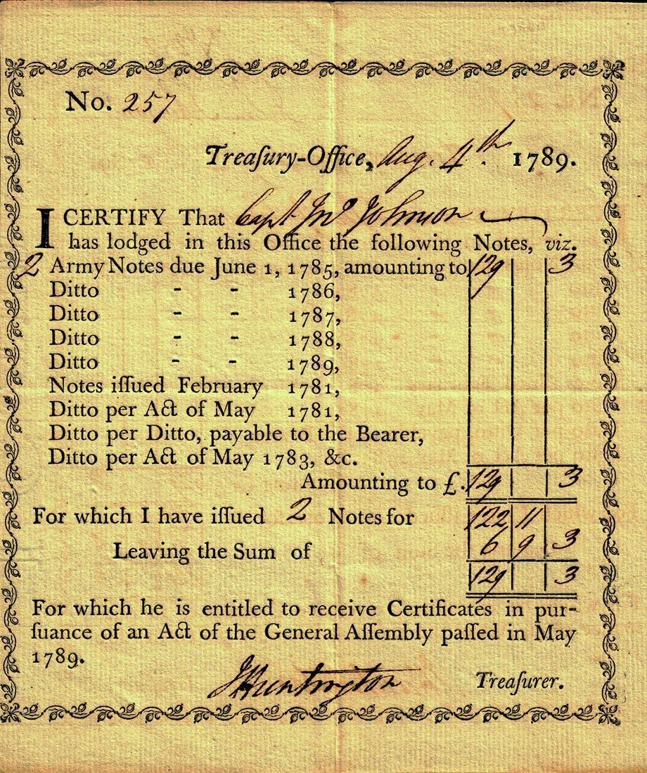 Rev War General JEDEDIAH HUNTINGTON -1789 Document