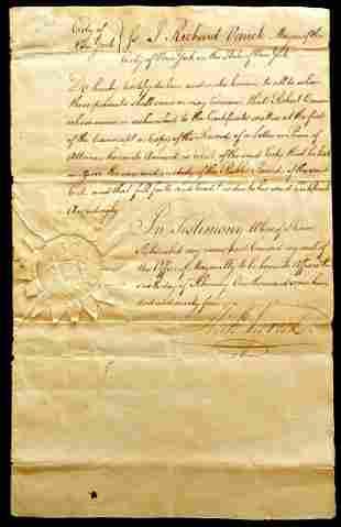New York City Mayor RICHARD VARICK - 1794 Document