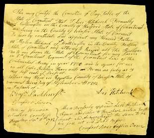 Uncommon REV WAR VERMONT Document - 1782