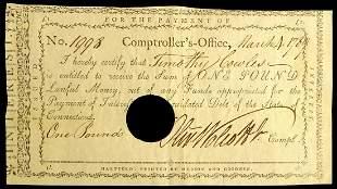Secy Treasury OLIVER WOLCOTT, JR - 1789 Payorder