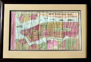 THE GREAT METROPOLIS - Phelps New York Map 1852, Framed