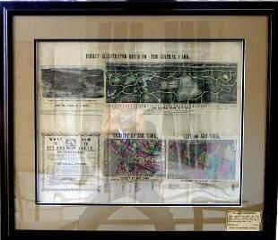 Antique NEW YORK CITY MAP - Framed