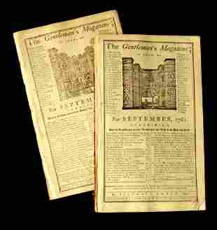 "British Periodical ""Gentleman's Magazine"" - 2 Copies,"