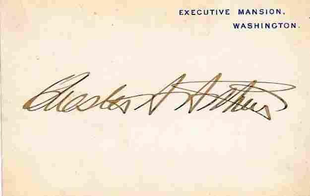 21st President CHESTER A ARTHUR - Exec Mansion Card