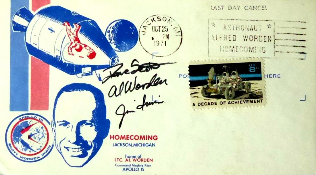 Apollo 15 - Crew Signed Postal Cover IRWIN, WORDEN,