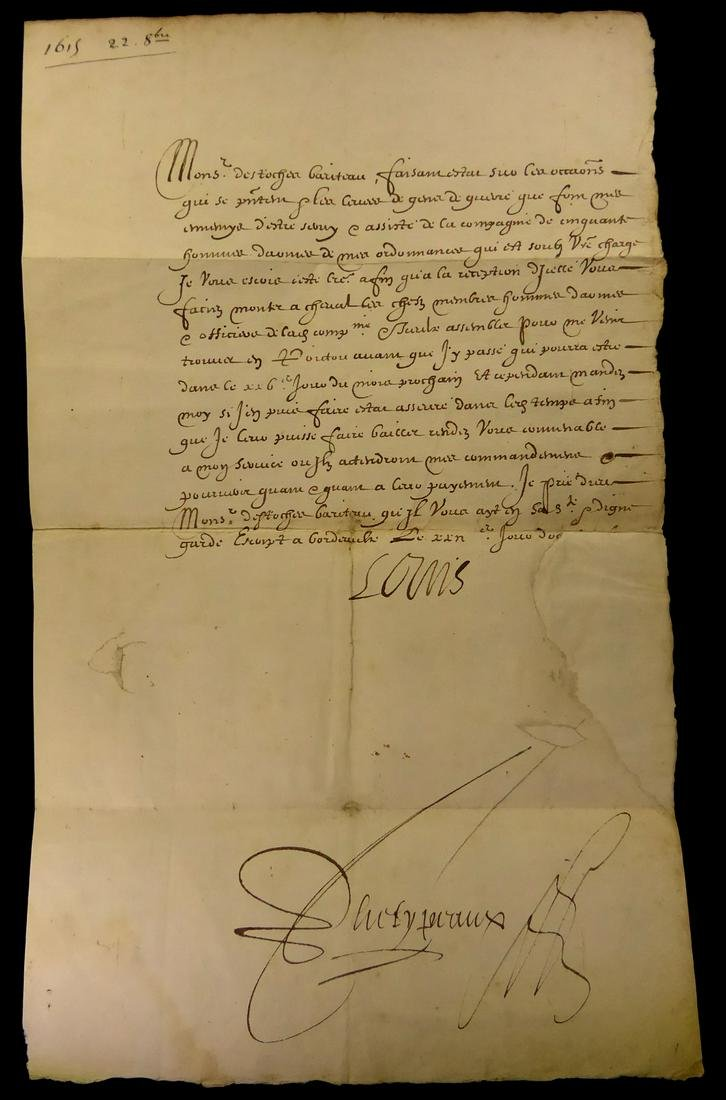 French Monarch LOUIS XIII - Document