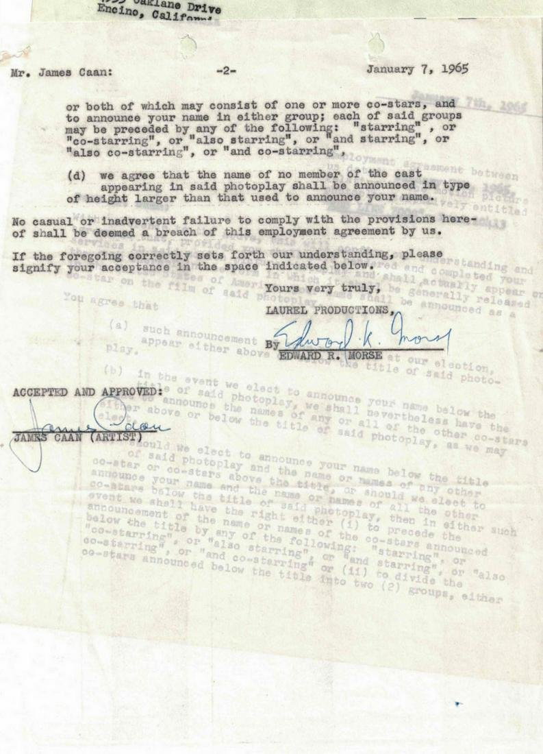 """Actor JAMES CAAN - Movie Contract for """"Red Line 7000"""""""