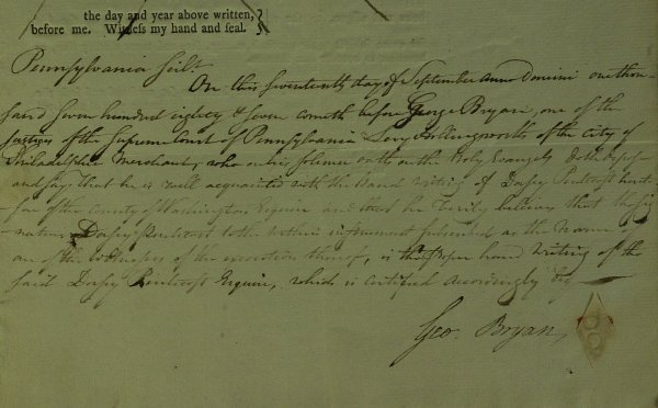 3: GEORGE BRYAN Phila Patriot - Document Signed